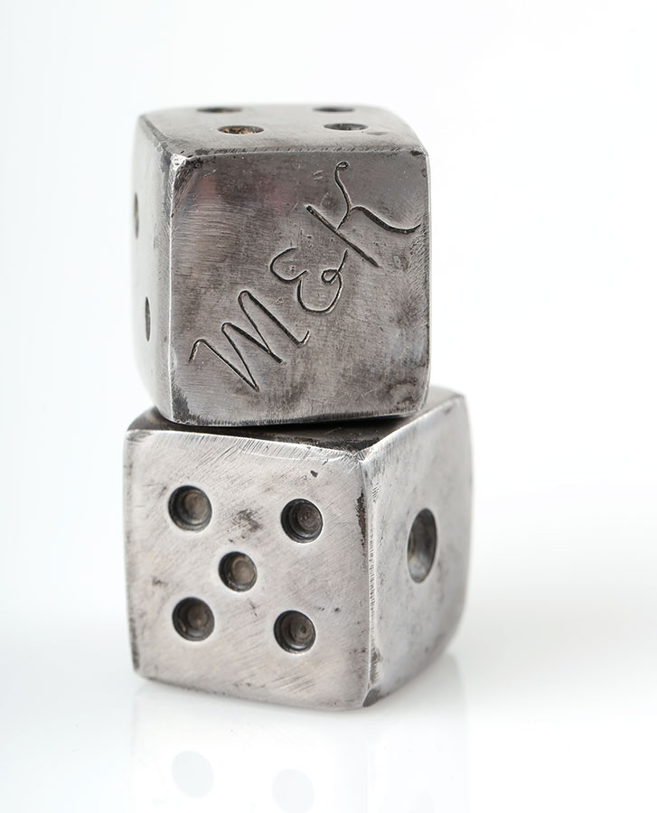 Dice handmade from old iron and engravedpuzzle pendants handmade symbolic gift