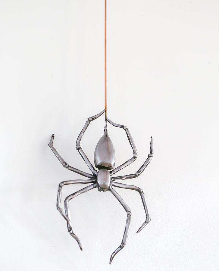 hand crafted iron spider wrought iron on copper wire